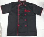 Áo bếp đen viền đỏ hàng được may sẵn
