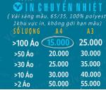 Bảng Giá In Ép Nhiệt Cho Áo Sáng Màu