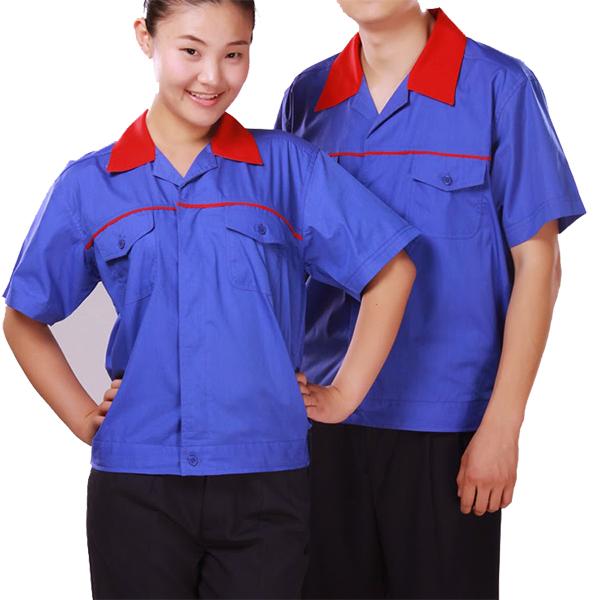 Quần áo công nhân xanh phối đỏ may theo yêu cầu 03